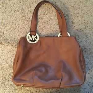 MICHAEL KORS BROWN LEATHER LOGO SATCHEL HOBO PURSE